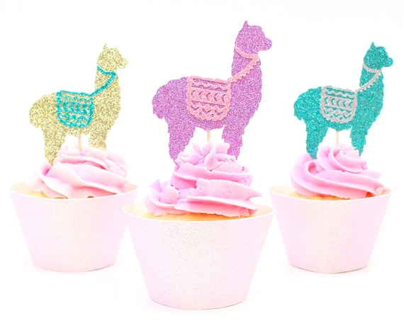 Llama Cupcake Toppers - Glitter - Set of 12 - First Birthday Decor. Llama Birthday Party Decor. Alpaca Party Decor. Llama Baby Shower.