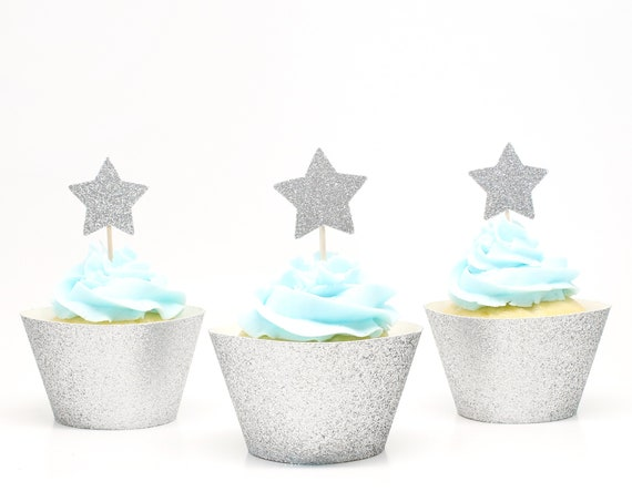 Star Cupcake Toppers - Twinkle Twinkle Little Star Party. Star Themed Baby Shower. Star Wedding. Bridal Shower Decor. Gender Reveal Party.