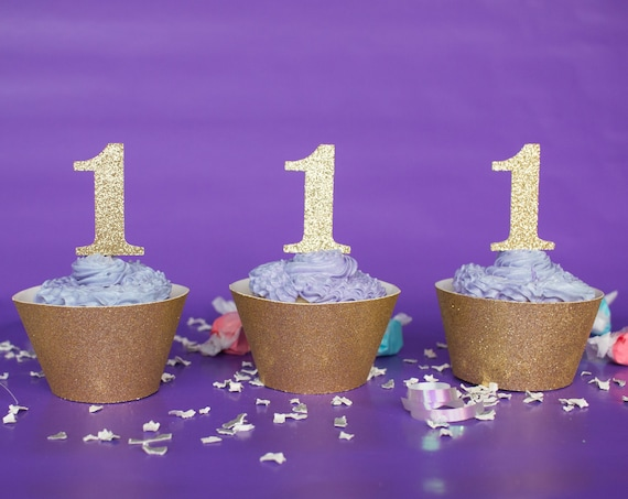 1 Cupcake Toppers - First Birthday. Number One Cupcake Toppers. 1st Birthday. One Cupcake Toppers.