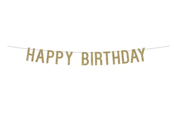 HAPPY BIRTHDAY - Glitter Banner - Birthday Party. Glitter Sign. Dorm Decor. Birthday Party Decor. Glitter Party Banner.