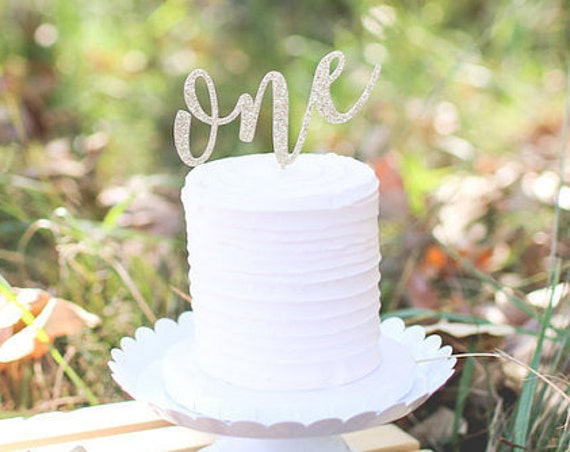 One Cake Topper - Glitter - First Birthday Cake. Smash Cake Topper. First Birthday Party Decoration. 1st Birthday. 1 Year Cake Topper.