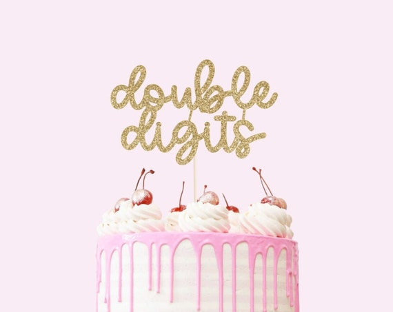 Double Digits Cake Topper - Glitter - Tenth Birthday. Birthday Cake Topper. Birthday Party. 10th Birthday Party. Turning Ten Cake Sign.