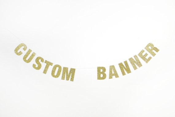 "Customizable Glitter Party Banner - 5.0"" Tall Letters"