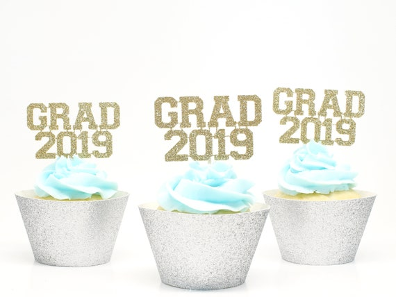 Grad 2019 Cupcake Toppers - Glitter - Graduation Party Decorations. Grad 2019. Graduation 2019. Senior 2019. Graduation Cupcake Picks.
