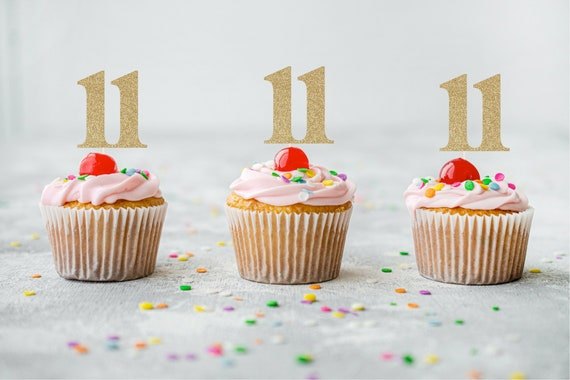 11 Cupcake Toppers - Eleventh Birthday. Number Eleven Cupcake Toppers. 11th Birthday. Eleven Cupcake Toppers.