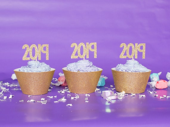2019 Cupcake Toppers - Glitter - Graduation Party Decor. New Years Eve Decor. Happy New Year. Grad 2019. Graduation 2019. Senior 2019.
