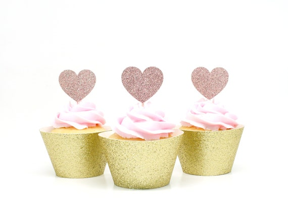 Heart Cupcake Toppers - Blush Glitter - First Birthday Party. Bridal Shower Decor. Wedding Cupcakes. Anniversary. Valentines Day.