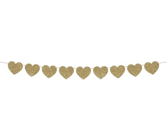 Heart Garland - Glitter Banner - Valentines Day Decorations. Valentine Party Banner. Happy Valentines Day.