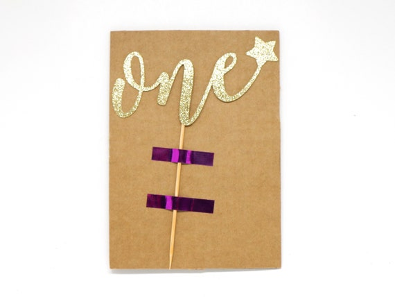 """One with Star Cake Topper - Ready To Ship - 5.0"""" width"""