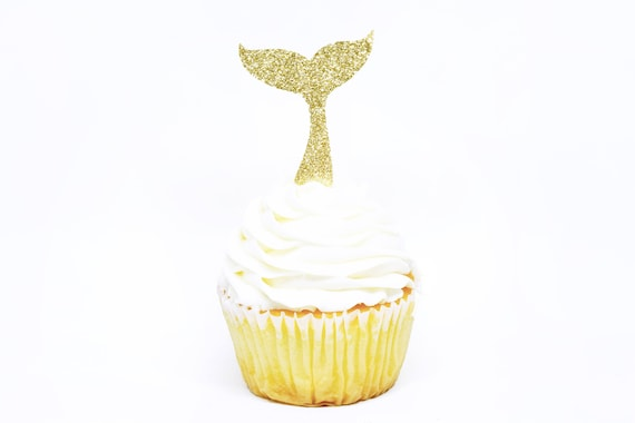 Whale Tail Cupcake Toppers - Gold Glitter - First Birthday Decor. Whale Party Decor. Party Supplies. Bachelorette Party. Mermaid Party Decor