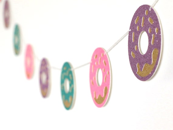 Donut Garland - Glitter - Donut Party Decor. Donut Theme Birthday Party. Donut Smash Cake. Donut First Birthday.