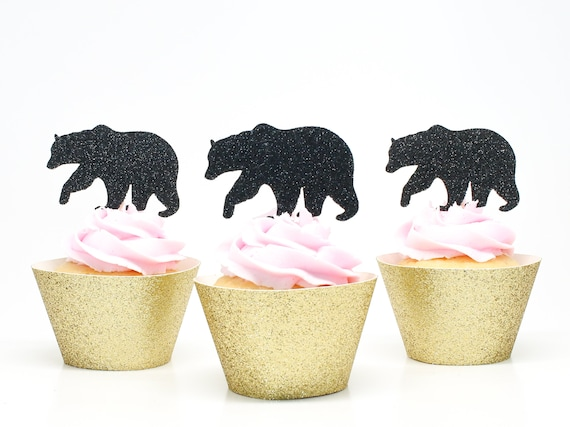 Bear Cupcake Toppers - Glitter