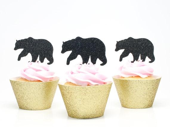 Bear Cupcake Toppers - Glitter