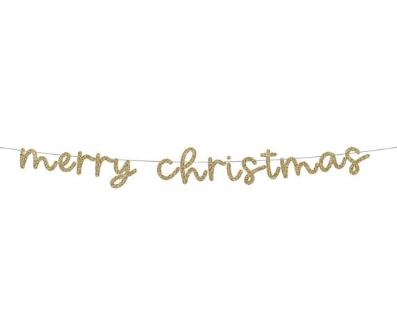 MERRY CHRISTMAS Glitter Banner - Christmas Glitter Sign. Holiday Decor. Christmas Decorations. Christmas Mantel Banner.