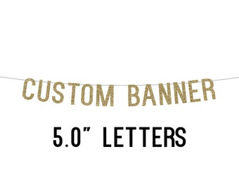 Party Banner - Glitter - Custom Text - 5 inch Letters - Bachelorette Party. Personalized Party Decor. Glitter Door Sign. Custom Name Banner.