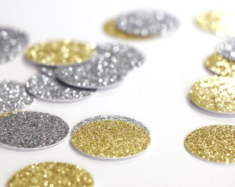 """Silver + Gold Glitter Circle Confetti - 1""""  Wedding. Bachelorette Party. Bridal Shower. Baby Shower. Engagement. First Birthday. Table Decor"""