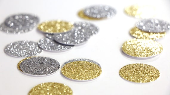 "Silver + Gold Glitter Circle Confetti - 1""  Wedding. Bachelorette Party. Bridal Shower. Baby Shower. Engagement. First Birthday. Table Decor"