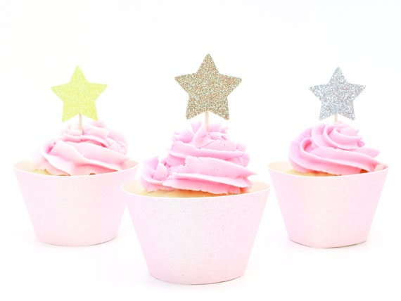 Star Cupcake Toppers - Glitter. First Birthday. Bachelorette Party. Donut Toppers. Cupcake Picks. First Birthday. Bridal Shower.