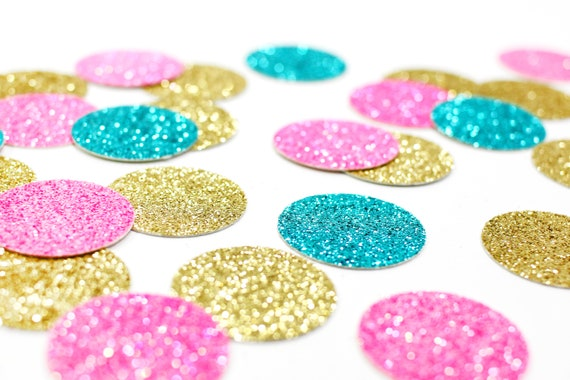 "Gold + Neon Pink + Aqua Blue Glitter Confetti - 1"" - Wedding. Bachelorette Party. Bridal Shower. Baby Shower. Engagement. First Birthday."