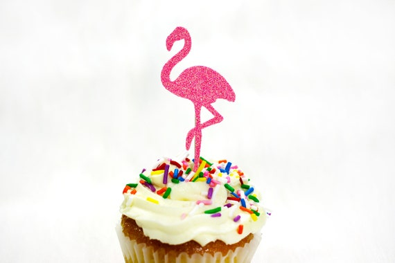 Pink Glitter Flamingo Cupcake Toppers.  Bachelorette Party. Engagement Party. Pink Flamingo Party. Birthday Party Decor. Tropical Party.