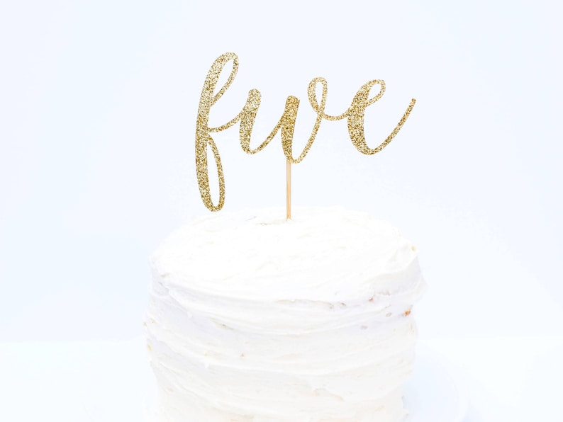 Five Cake Topper Glitter Fifth Birthday Party