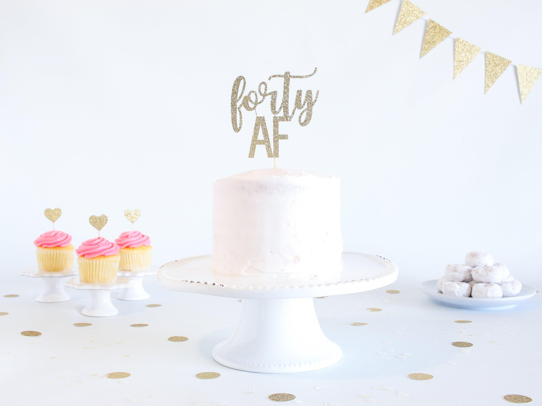 Astounding Forty Af Cake Topper Glitter Birthday Cake Topper Funny Funny Birthday Cards Online Barepcheapnameinfo