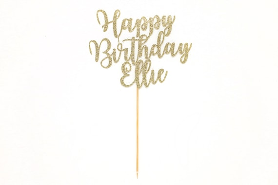 Personalized Happy Birthday Cake Topper - Glitter Cardstock - Birthday Cake Topper. Birthday Cake Sign.