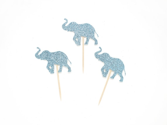 Elephant Cupcake Toppers - First Birthday Party. Elephant 1st Birthday Party. Baby Elephant Cupcake Picks. Elephant Baby Shower Decorations.