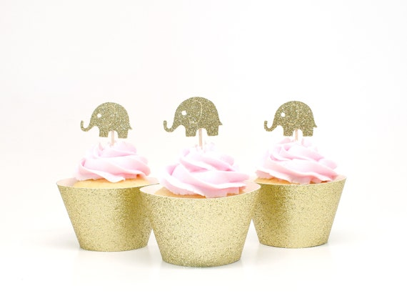 Elephant Cupcake Toppers - Glitter - First Birthday Party. Elephant Party. 1st Birthday. Elephant Cupcake Decorations. Bridal Shower.