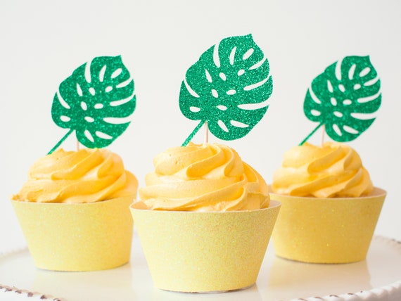 Monstera Leaf Cupcake Toppers - Green Glitter - 12 Toppers - Tropical Party Decorations. Fiesta. Luau Party. Hawaiian Party. Jungle Party.