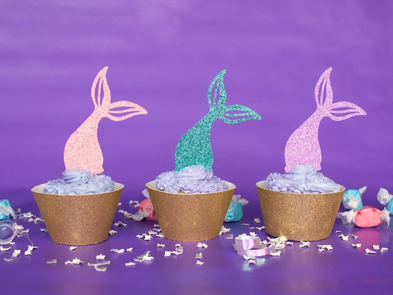 Mermaid Tail Cupcake Toppers - Glitter