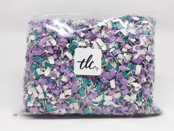 Mermaid Confetti - Purple + Aqua + White --- Tossing Confetti - Table Scatter - Piñata Filler - Basket Fill - Baby Shower - Confetti Toss