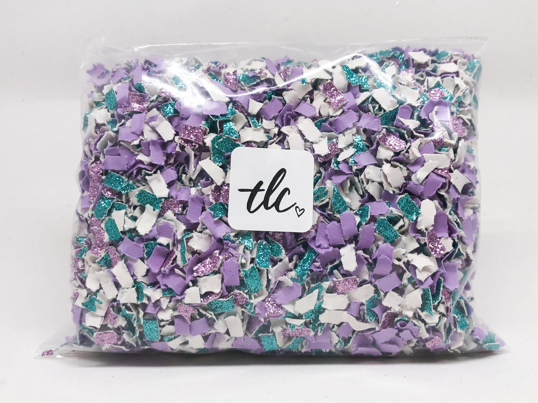 Mermaid Confetti Purple Aqua White Tossing Confetti Table