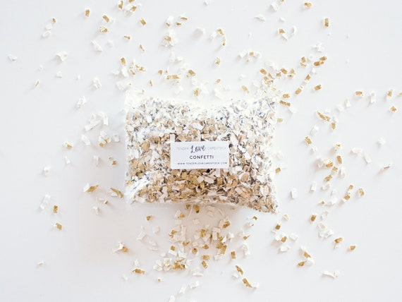 Gold Confetti - Gold + White --- Tossing Confetti - Table Scatter - Piñata Filler - Basket Fill - Baby Shower - Confetti Toss - Photo Prop