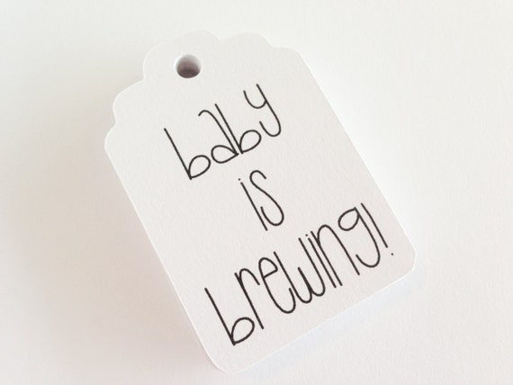 Baby is Brewing - Set of 25 - 2.25 x 1.5 inch - Baby Shower. Gender Reveal Decorations. Baby Shower Favor Tags. It's a girl. It's a boy.
