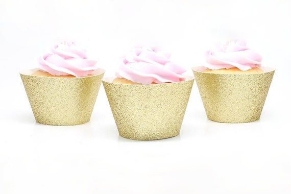 Glitter Cupcake Wrappers - Cupcake Decorations. First Birthday Party. Cupcake Holders.