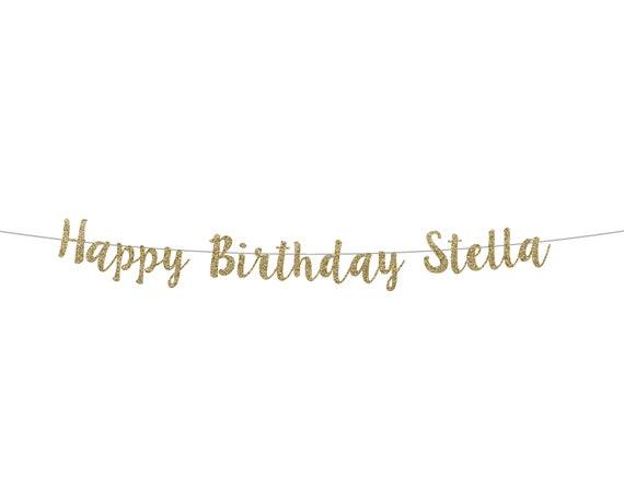 Happy Birthday Banner - Custom Script Glitter Banner - Glitter Birthday Party Sign. 16th Birthday. 18th Birthday. 30th Bday. 50th Birthday.