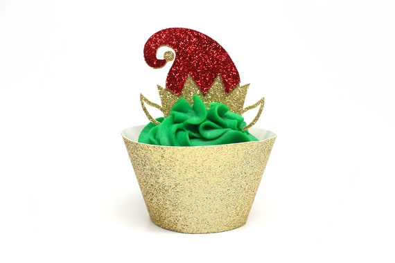 Elf Cupcake Toppers - Glitter - Elf Hat Cupcake Toppers - Holiday Cupcake Toppers. Christmas Cupcake Decorations. Holiday Baking.