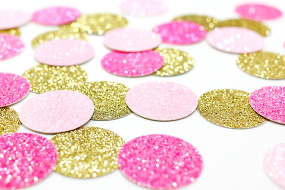 "Light Pink + Neon Pink + Gold Glitter Confetti - 1"" - Wedding. Bachelorette Party. Bridal Shower. Baby Shower. Engagement. First Birthday."