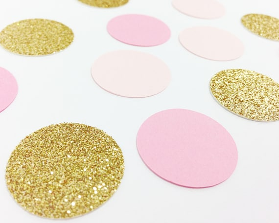 "150 Light Pink / Medium Pink / Gold Glitter Confetti - 1"" - Wedding Confetti. Tabletop Decor. Party Decorations. Bachelorette. Baby Shower."