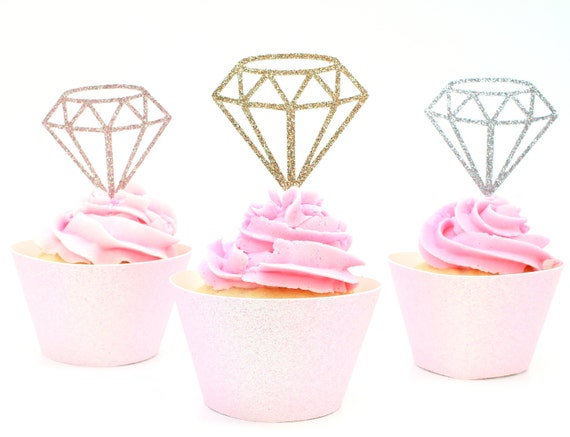 Diamond Cupcake Toppers - Glitter - Bachelorette Party. Engagement Party Decor. Diamond Donut Toppers.