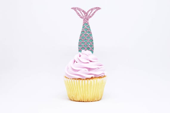 Mermaid Tail Cupcake Toppers - Aqua + Lavender Glitter - First Birthday Decor. Mermaid Party Decor. Birthday Party. Mermaid Party Favor.