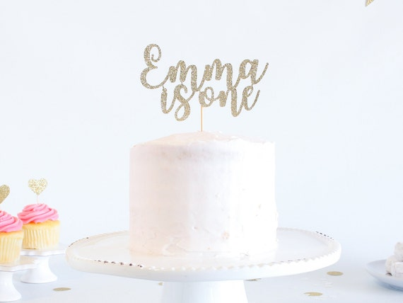 One Cake Topper - Customized - Glitter - Smash Cake Topper. Birthday Party. 1st Birthday. First Year. First Birthday. One Cake Topper.