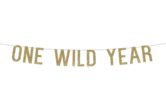 ONE WILD YEAR - Glitter Banner - Birthday Party. Glitter Sign. Birthday Party Decor. Glitter Party Banner. First Birthday Party. Wild One.