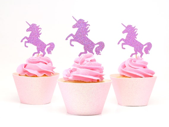Unicorn Cupcake Toppers - Bright Purple Glitter