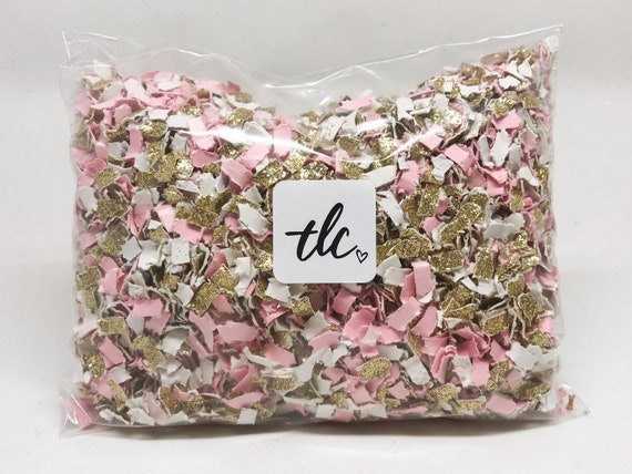 Pink + Gold + White Confetti -- Tossing Confetti - Table Scatter - Piñata Filler - Basket Fill - Baby Shower - Confetti Toss - Gender Reveal
