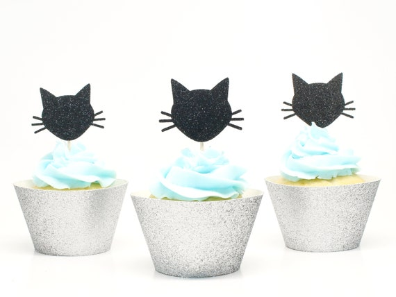 Cat Cupcake Toppers - Black Glitter
