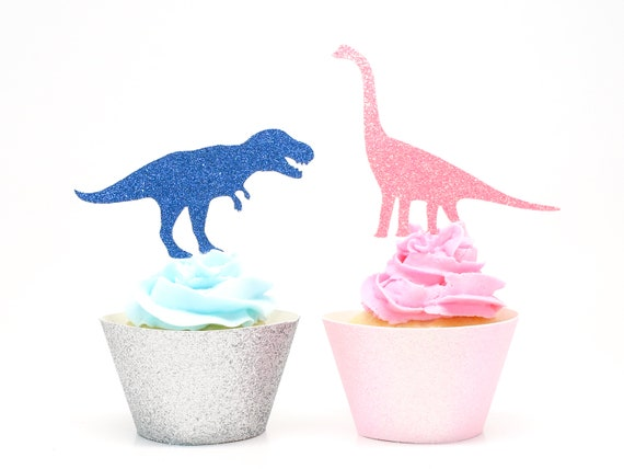 Gender Reveal Dinosaur Cupcake Toppers  -  Dinosaur Baby Shower. Dinosaur Birthday Party. Tyrannosaurus Rex. Dino Party Decorations.