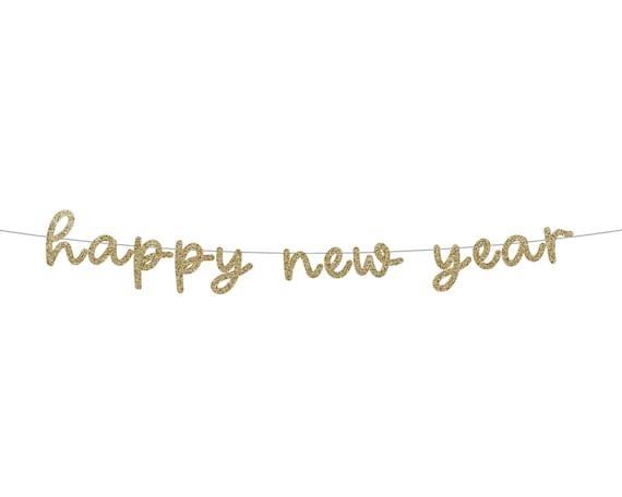HAPPY NEW YEAR Glitter Banner - New Years Glitter Sign. Holiday Decor. New Years Garland. Happy New Year Banner. New Years Eve Decorations.
