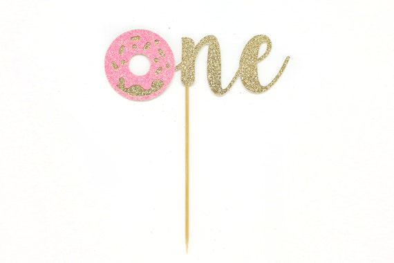 Donut One Cake Topper - Glitter - First Birthday. Smash Cake Topper. Birthday Party. First Birthday. 1st Birthday. First Year.